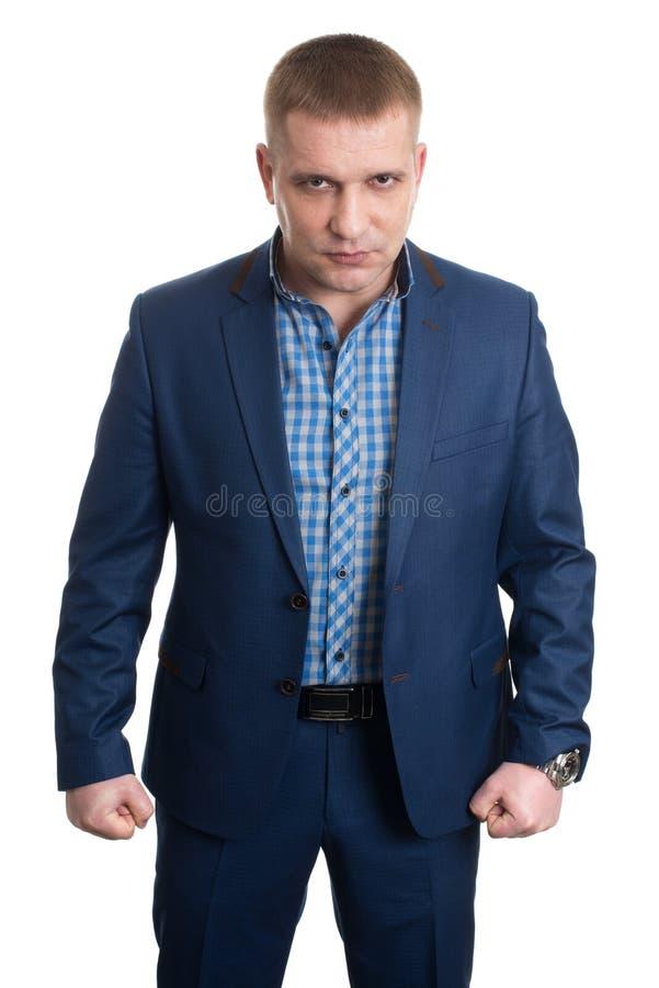 Homme d'affaires avec deux poings photographie stock