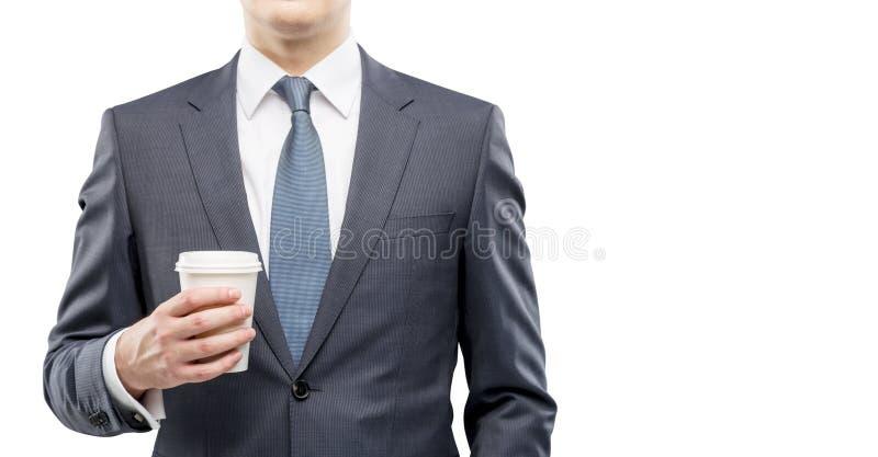 Homme d'affaires avec du café, coupure photos stock