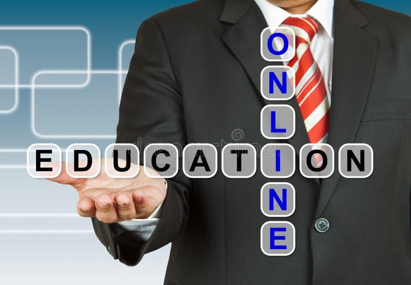 Homme d'affaires avec exprimer l'éducation en ligne photo stock