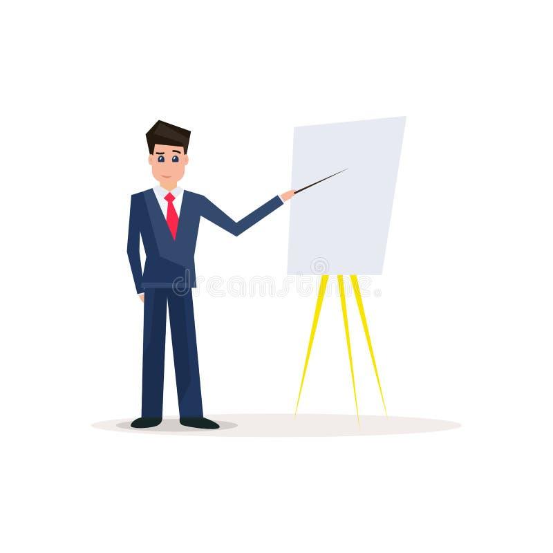 Homme d'affaires avec Flipchart Entraîneur d'affaires avec la présentation illustration libre de droits