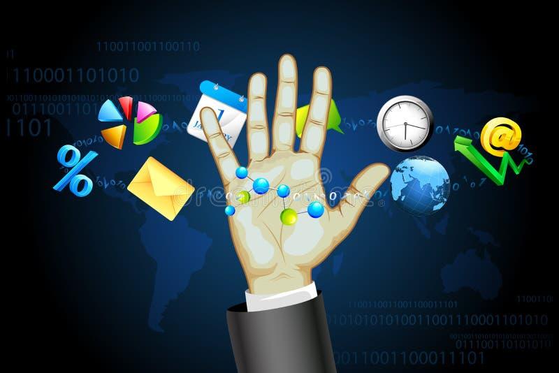 Homme d'affaires avec l'écran tactile interactif illustration de vecteur