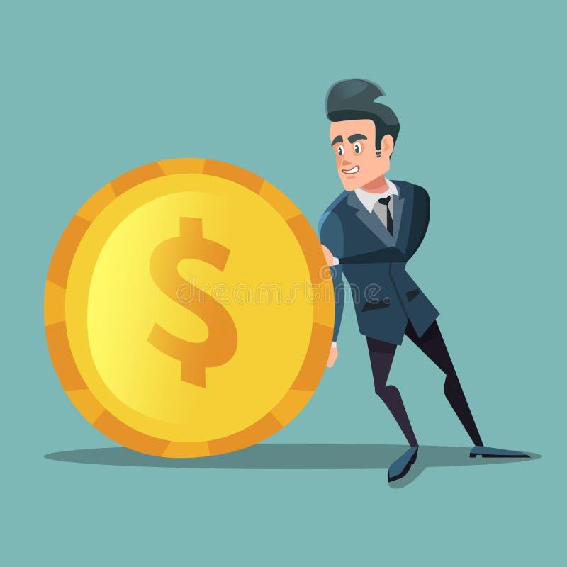 Homme d'affaires avec l'argent L'homme pousse la grande pièce de monnaie d'or Concept d'investissement illustration de vecteur