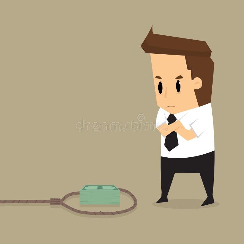 Homme d'affaires avec l'argent suspect dans le piège illustration stock