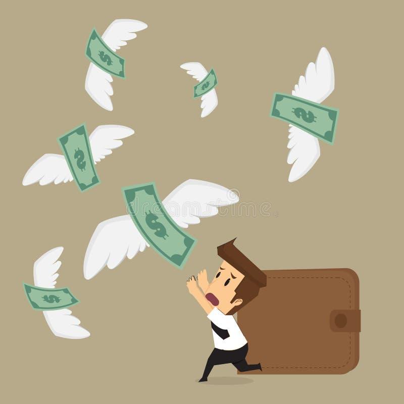 Homme d'affaires avec l'argent volant loin illustration stock