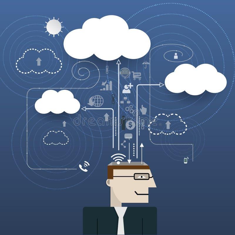 Homme d'affaires avec l'espace de l'information de réseau informatique de nuage illustration stock