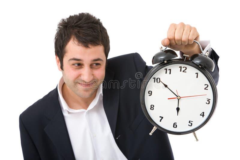 Homme d'affaires avec l'horloge images libres de droits