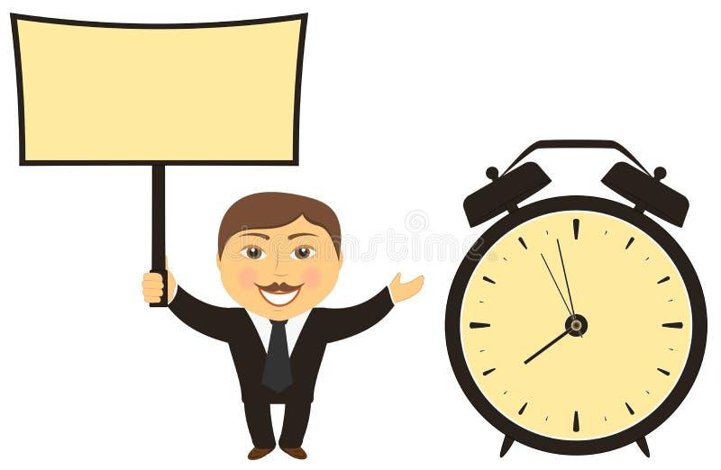 Homme d'affaires avec l'horloge de conseil à disposition illustration stock