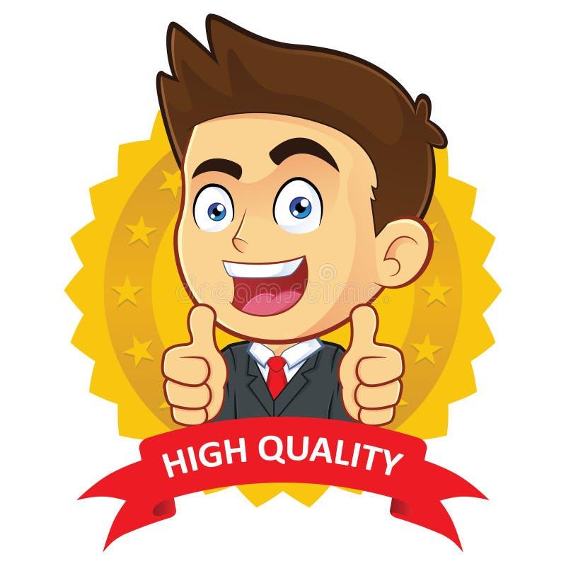 Homme d'affaires avec l'icône de garantie illustration libre de droits