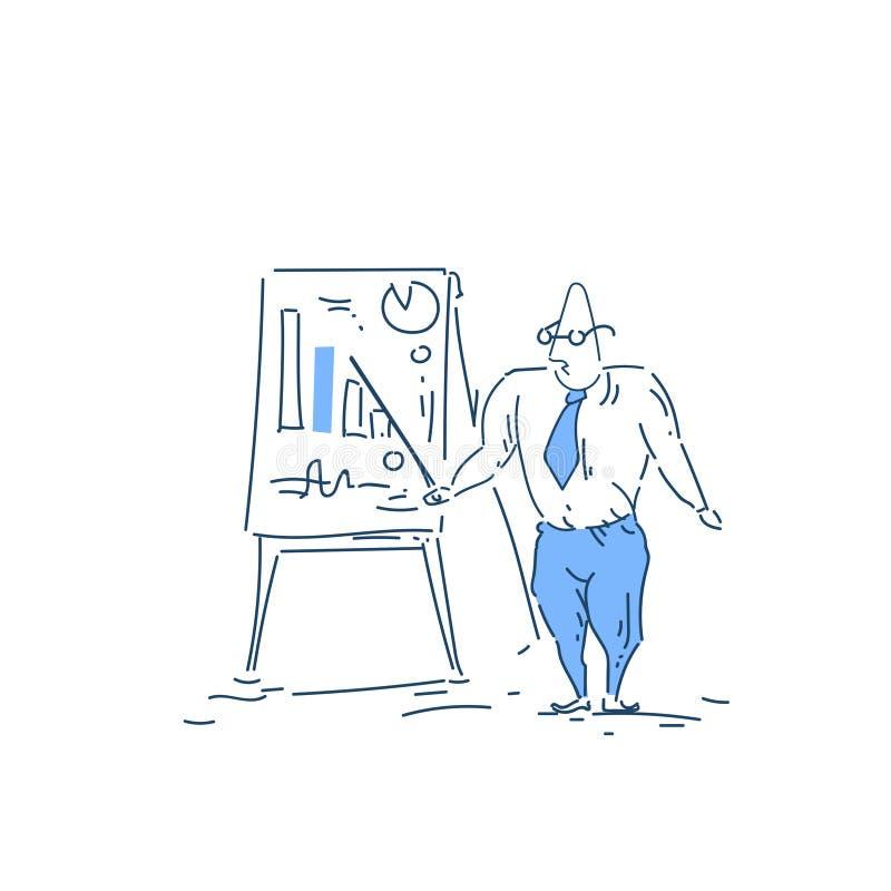 Homme d'affaires avec l'indicateur près du concept d'analytics d'homme d'affaires de tableau de conférence sur le griffonnage bla illustration libre de droits
