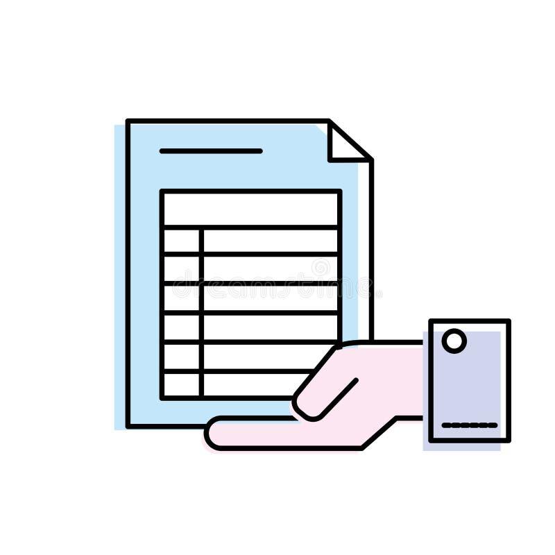 Homme d'affaires avec l'information de document dans la main de paume illustration de vecteur