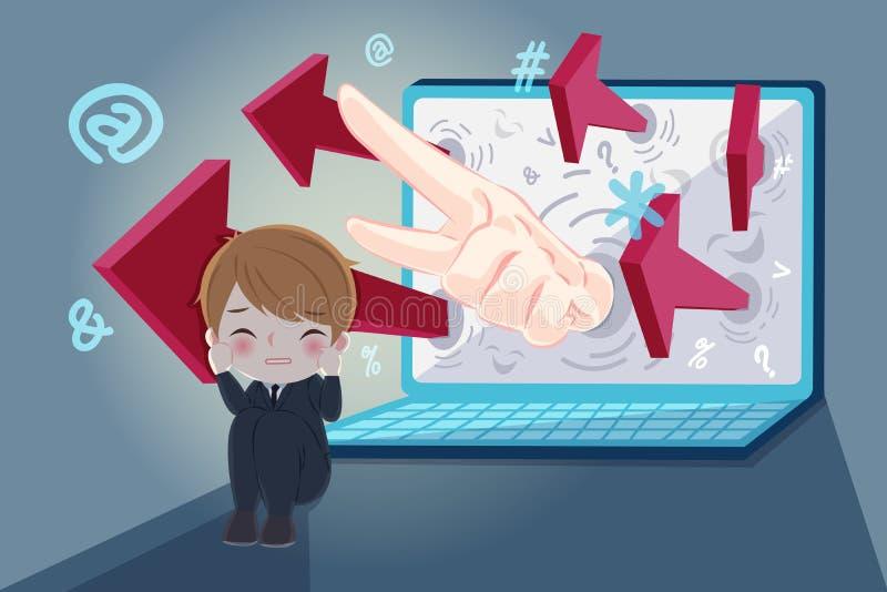 Homme d'affaires avec l'intimidation de cyber illustration stock