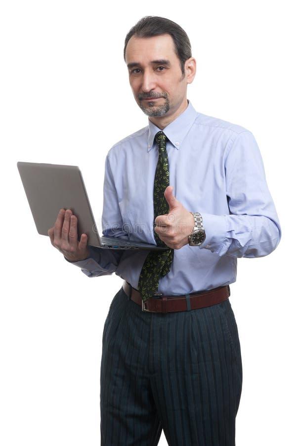 Homme d'affaires avec l'ordinateur portable photos stock