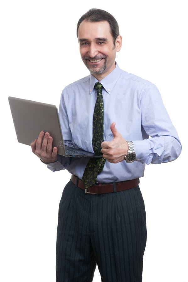 Homme d'affaires avec l'ordinateur portable images stock