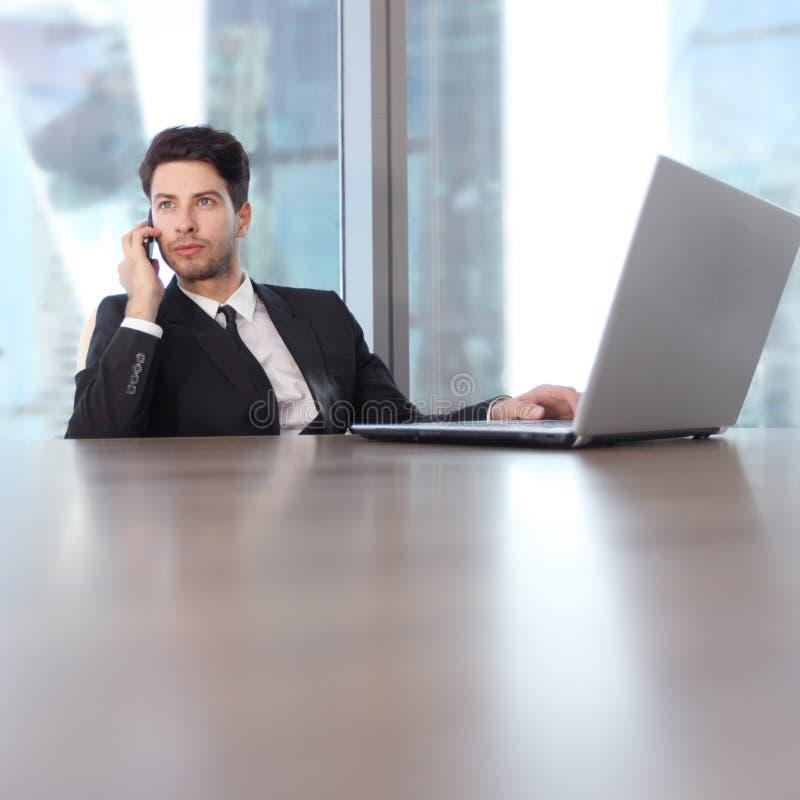 Download Homme D'affaires Avec L'ordinateur Portatif Image stock - Image du entretien, mobile: 76082449