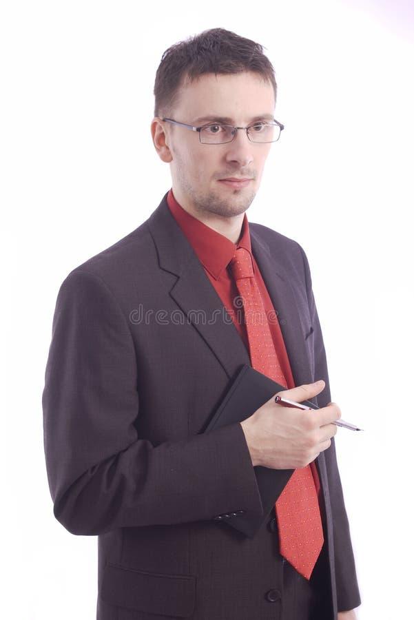 Homme d'affaires avec l'ordre du jour photographie stock