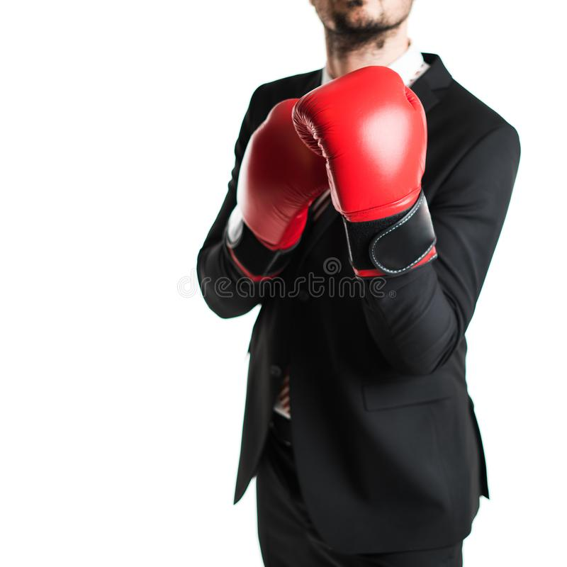 Homme d'affaires avec la boxe rouge photo libre de droits