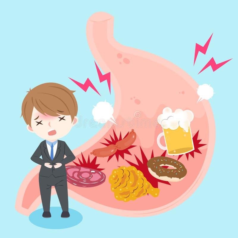 Homme d'affaires avec la brûlure d'estomac illustration libre de droits