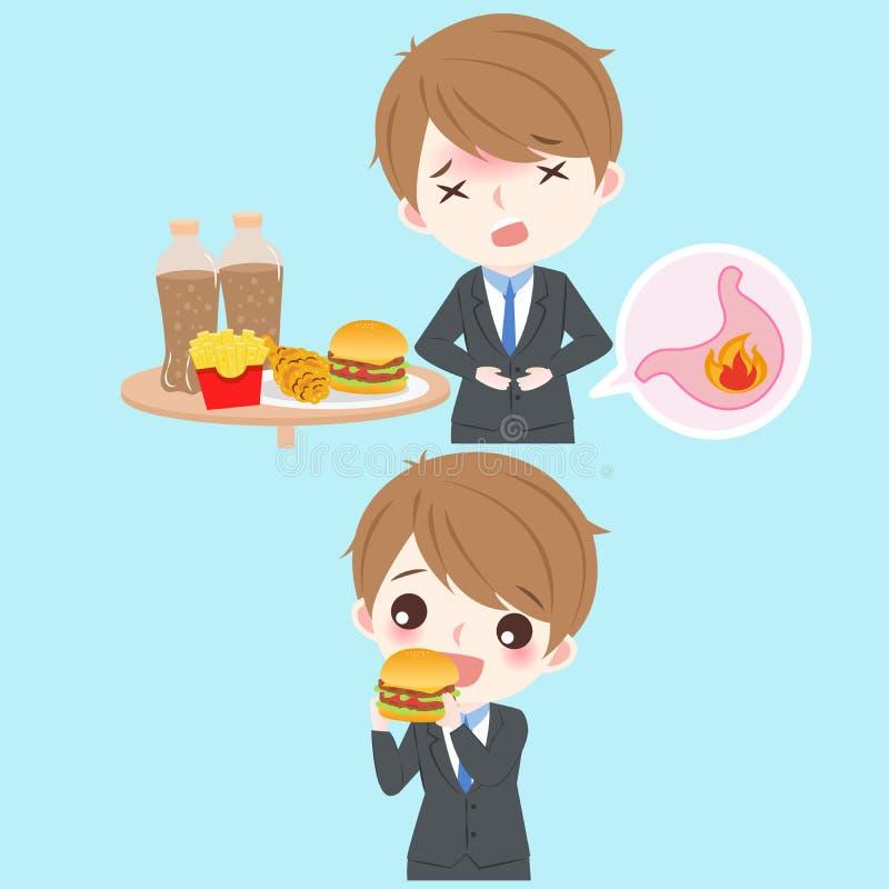 Homme d'affaires avec la brûlure d'estomac illustration stock