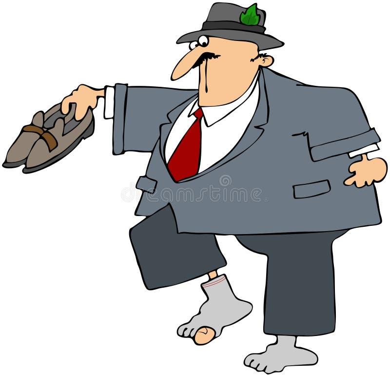 Homme d'affaires avec la chaussette Holey illustration de vecteur