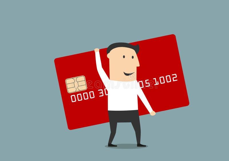 Homme d'affaires avec la grande carte de crédit rouge illustration stock