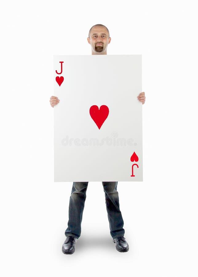 Homme d'affaires avec la grande carte jouante image stock
