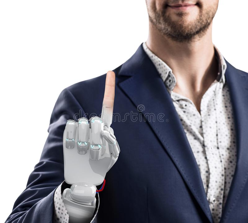 Homme d'affaires avec la main robotique Concept de prothèse rendu 3d images stock