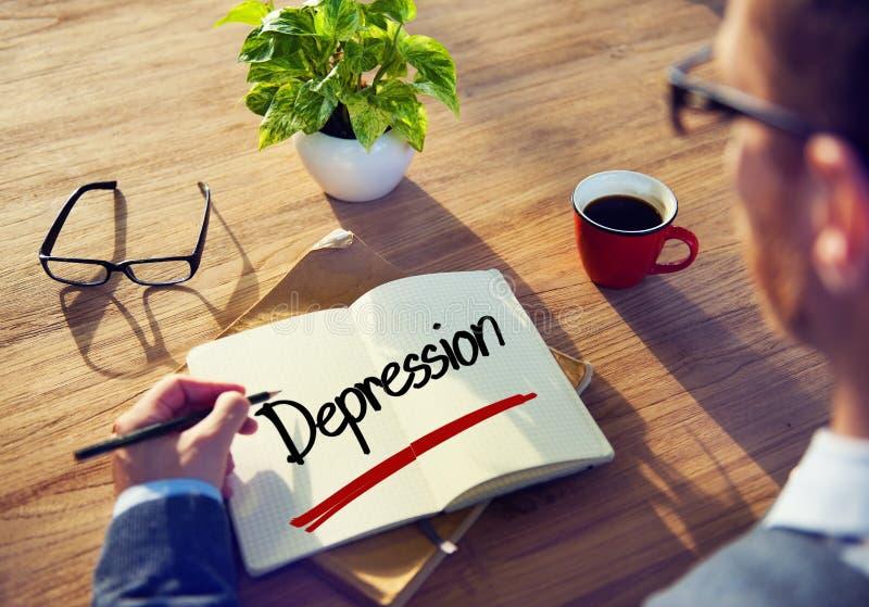 Homme d'affaires avec la note au sujet des concepts de dépression images stock