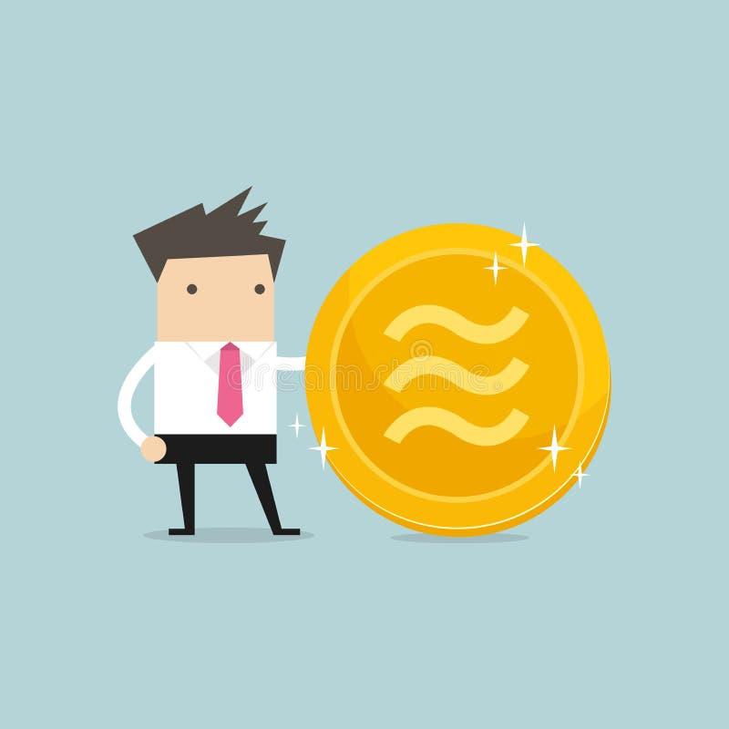 Homme d'affaires avec la pièce de monnaie d'or de Balance Argent électronique virtuel de crypto devise illustration de vecteur