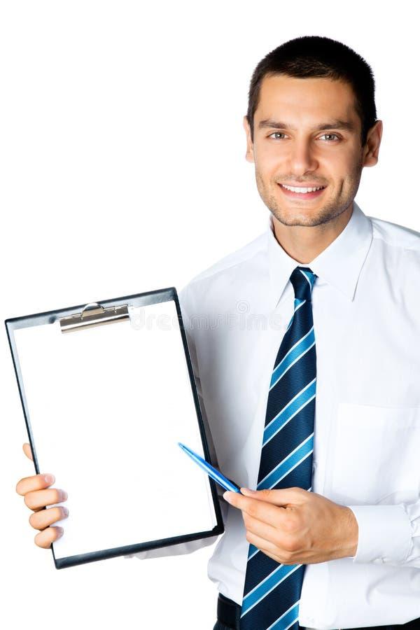 Homme d'affaires avec la planchette photos stock