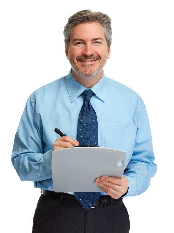 Homme d'affaires avec la planchette photographie stock