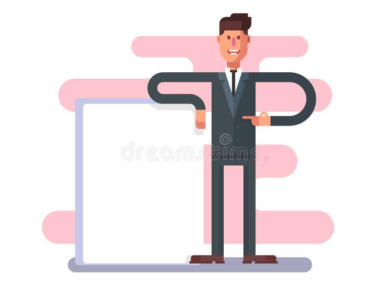 Homme d'affaires avec la publicité illustration libre de droits