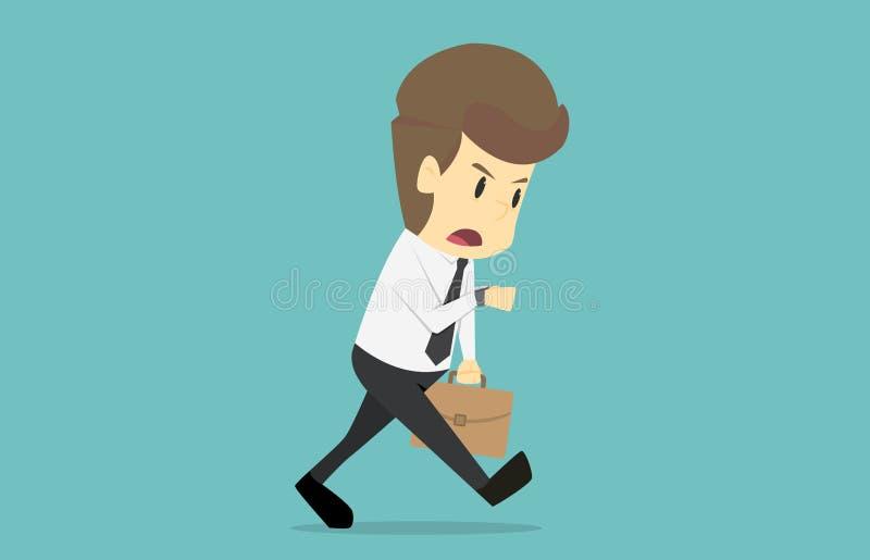 Homme d'affaires avec la serviette, fonctionnant tard, soumise à une contrainte et le looki illustration libre de droits