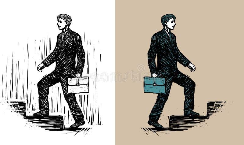 Homme d'affaires avec la serviette marchant en haut illustration stock