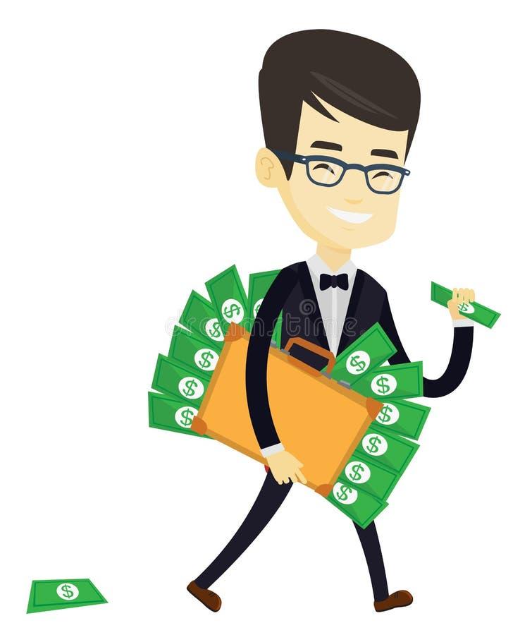 Homme d'affaires avec la serviette pleine de l'argent illustration de vecteur