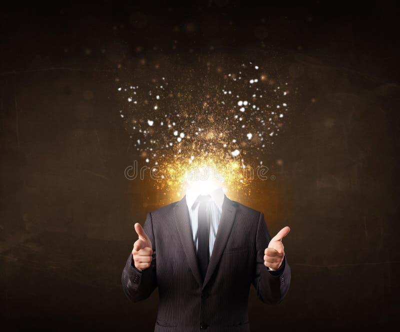 Homme d'affaires avec la tête de explosion rougeoyante illustration libre de droits