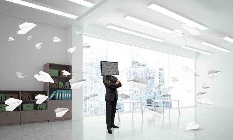 Homme d'affaires avec la TV au lieu de la tête illustration stock