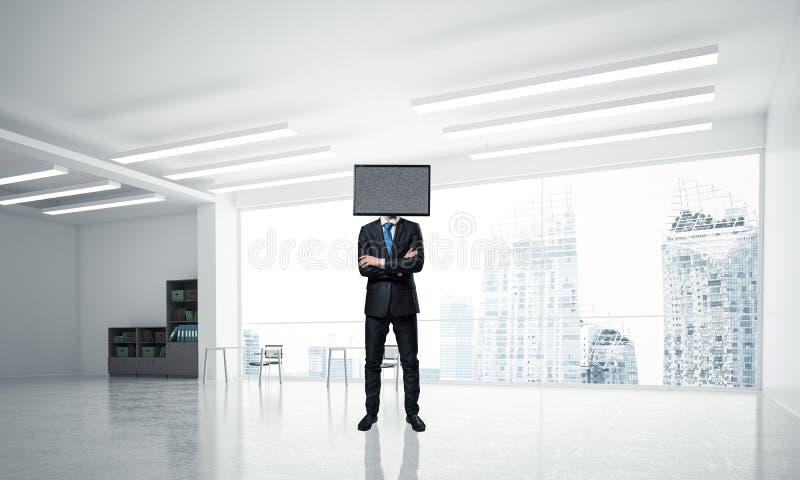 Homme d'affaires avec la TV au lieu de la tête illustration libre de droits