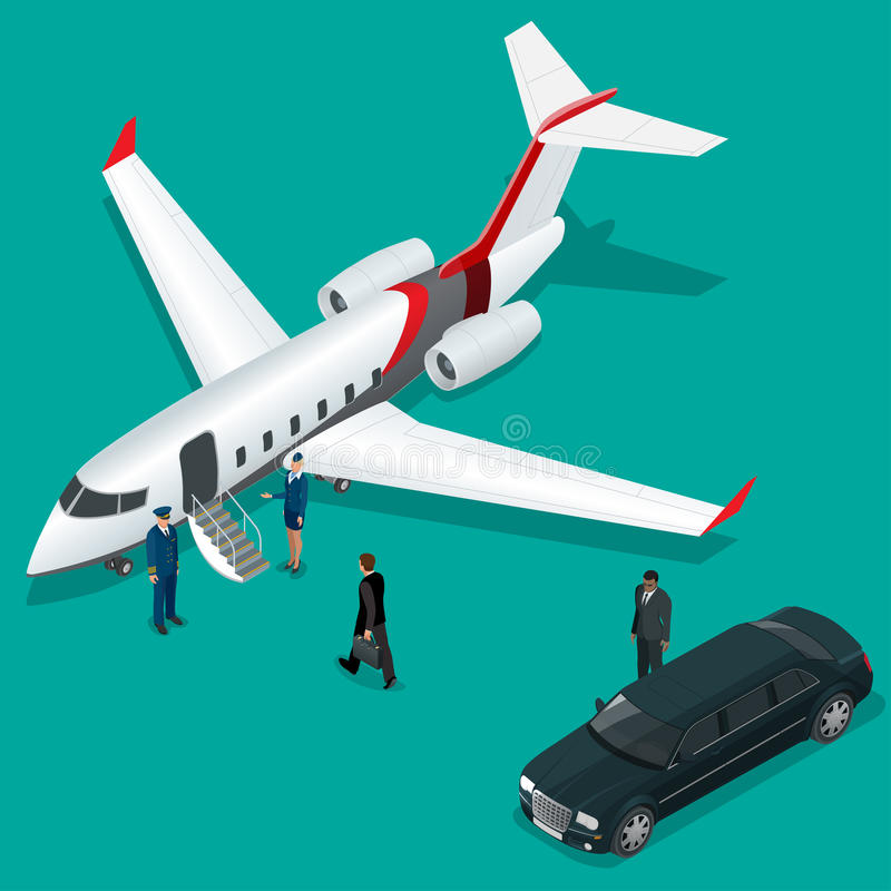 Homme d'affaires avec le bagage marchant vers le jet privé sur le terminal Hôtesse de concept d'affaires, pilote, limousine illustration libre de droits