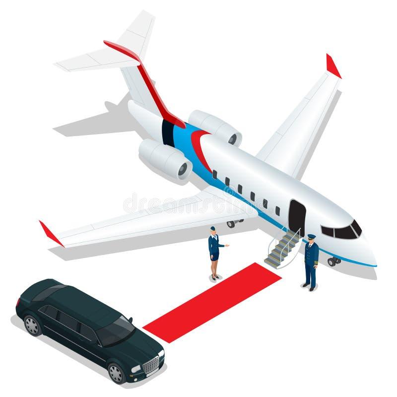 Homme d'affaires avec le bagage marchant vers le jet privé sur le terminal Hôtesse de concept d'affaires, pilote, limousine illustration de vecteur
