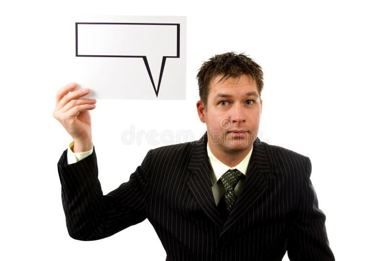 Homme d'affaires avec le ballon des textes photo stock