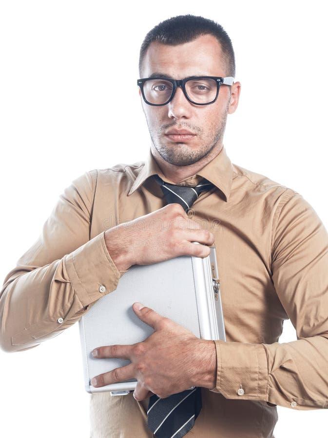 Homme d'affaires avec le cas protecteur image libre de droits