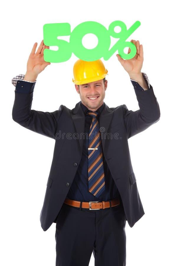Homme d'affaires avec le casque, escompte photo stock