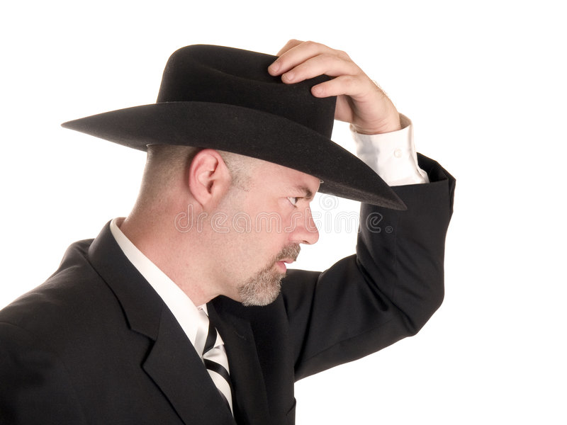 Homme d'affaires avec le chapeau de cowboy photographie stock