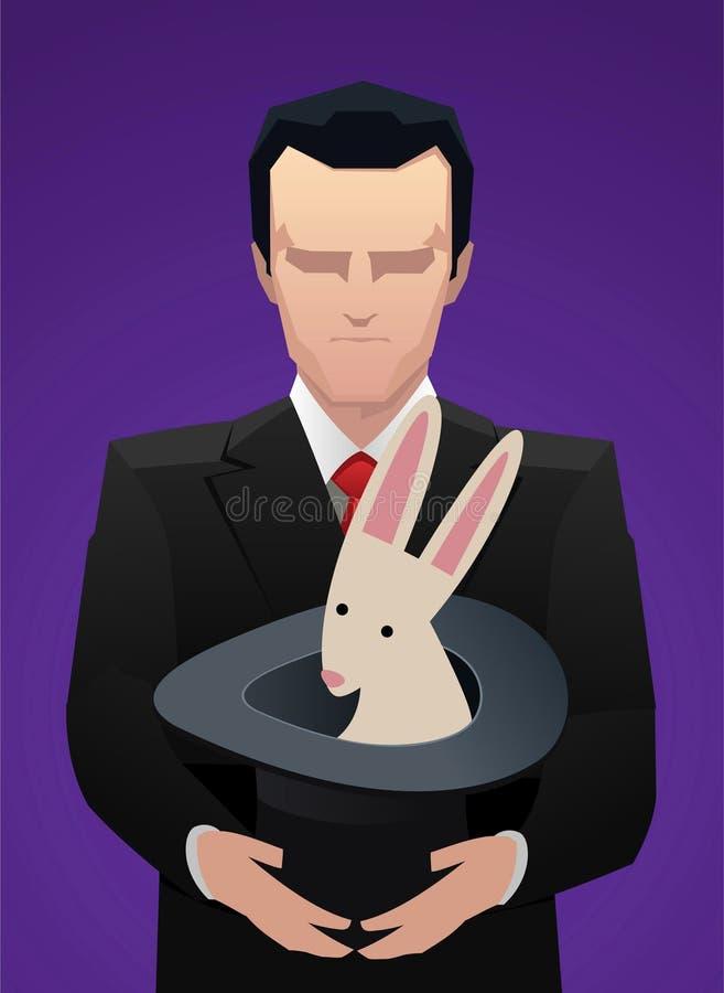 Homme d'affaires avec le chapeau magique illustration stock