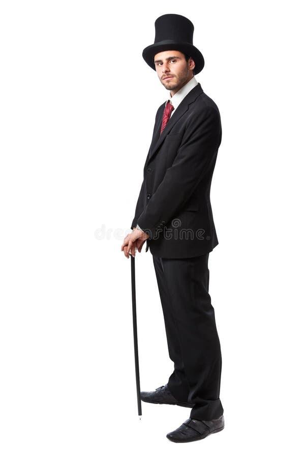 Homme d'affaires avec le chapeau supérieur image libre de droits