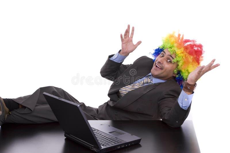 Homme d'affaires avec le cheveu de clown photos libres de droits