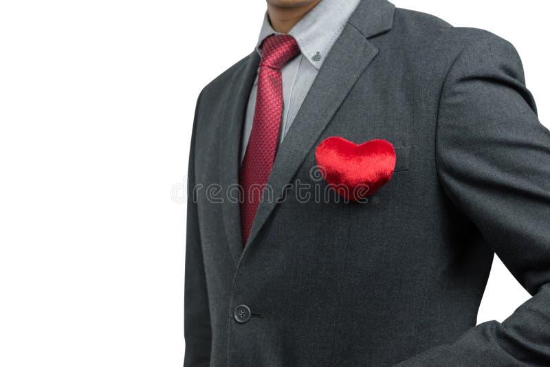 Homme d'affaires avec le coeur rouge image libre de droits