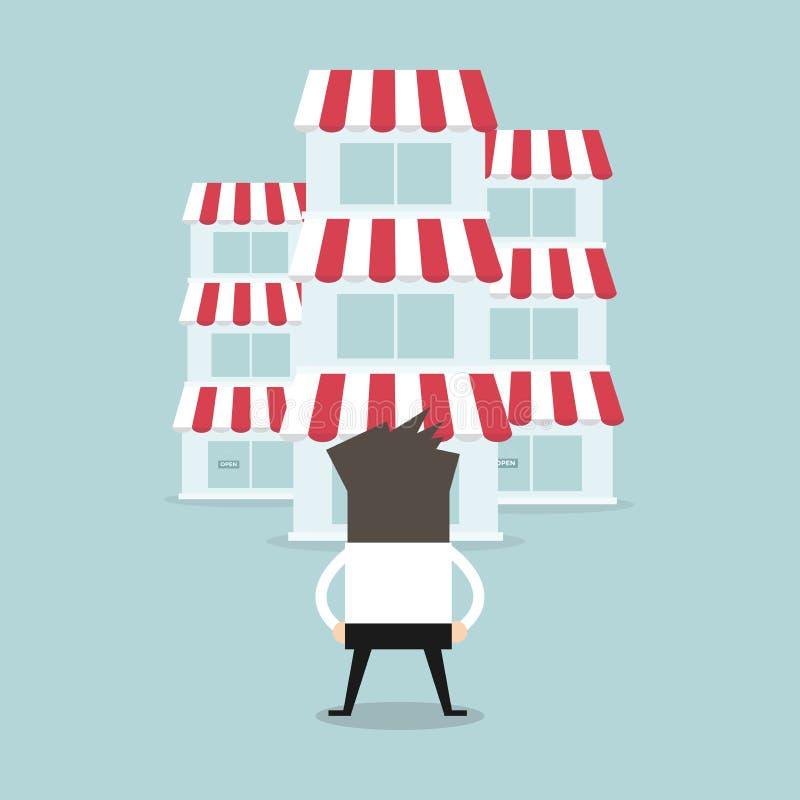 Homme d'affaires avec le concept de concession de boutique Concept d'affaires illustration libre de droits