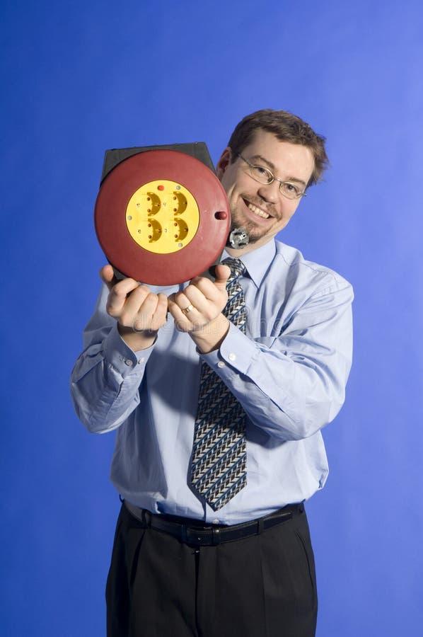 Homme d'affaires avec le cordon électrique images libres de droits