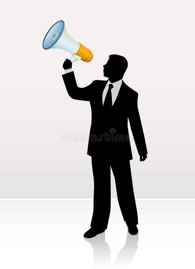 Homme d'affaires avec le corne de brume illustration stock